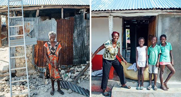 pictures of people in Haiti next to rebuilt houses