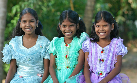 Three beautiful orphan girls at the orphanage
