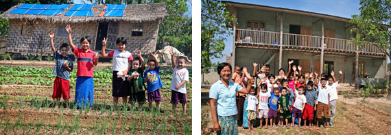 Old and new orphanages in Burma
